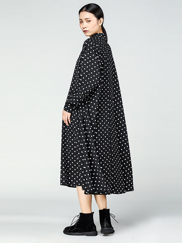 Original Vintage Polka-Dot Lapel Long Dress