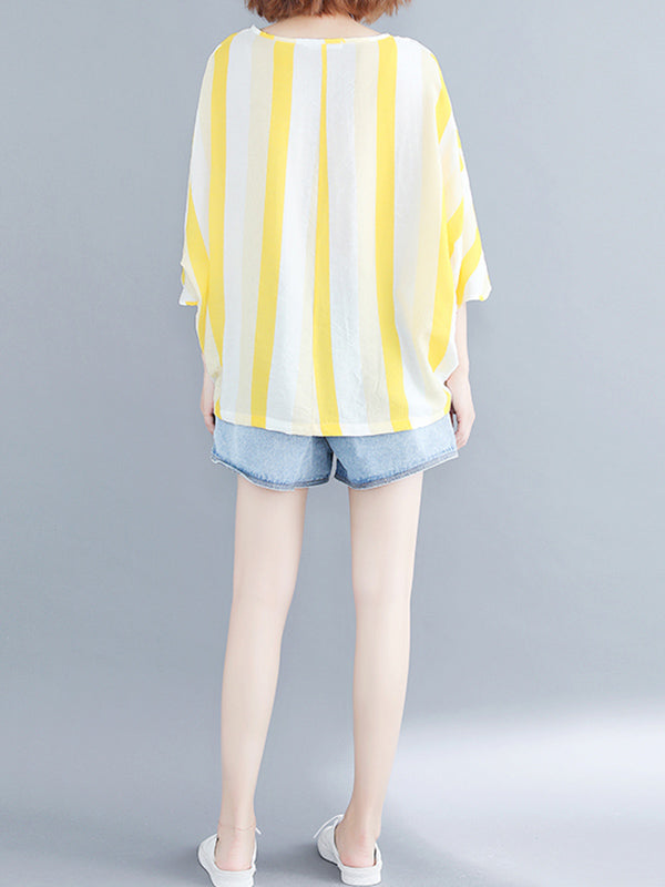 Loose Striped Batwing Sleeves Shirt