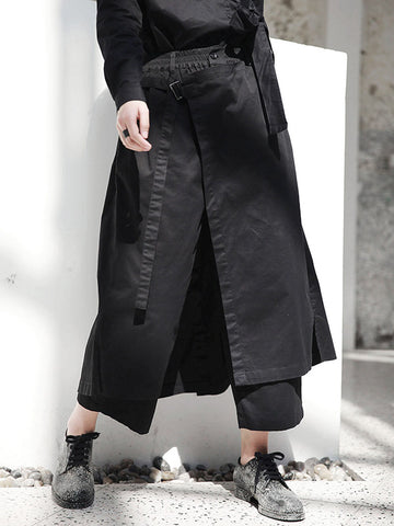 Loose Plaid Elastic waist  Wide leg Pants