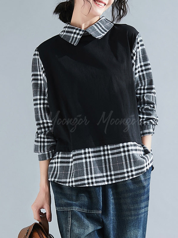 Casual False-Two Plaid Split-Joint Blouses
