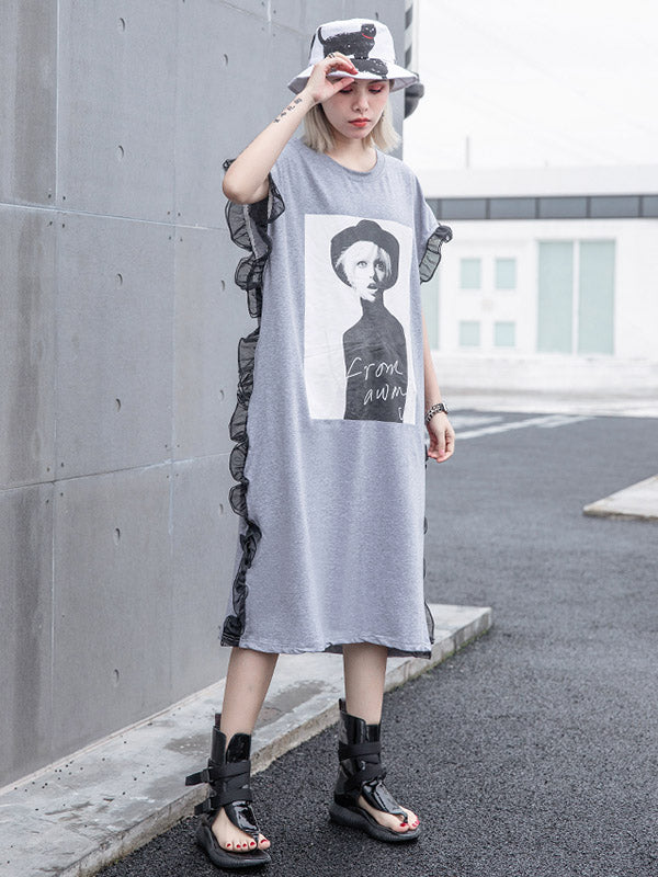 Loose Picture Printed Long Dress