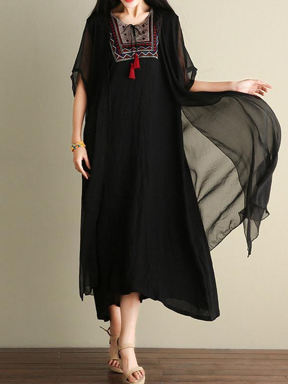 Black Embroidered Ramie Cotton Dress