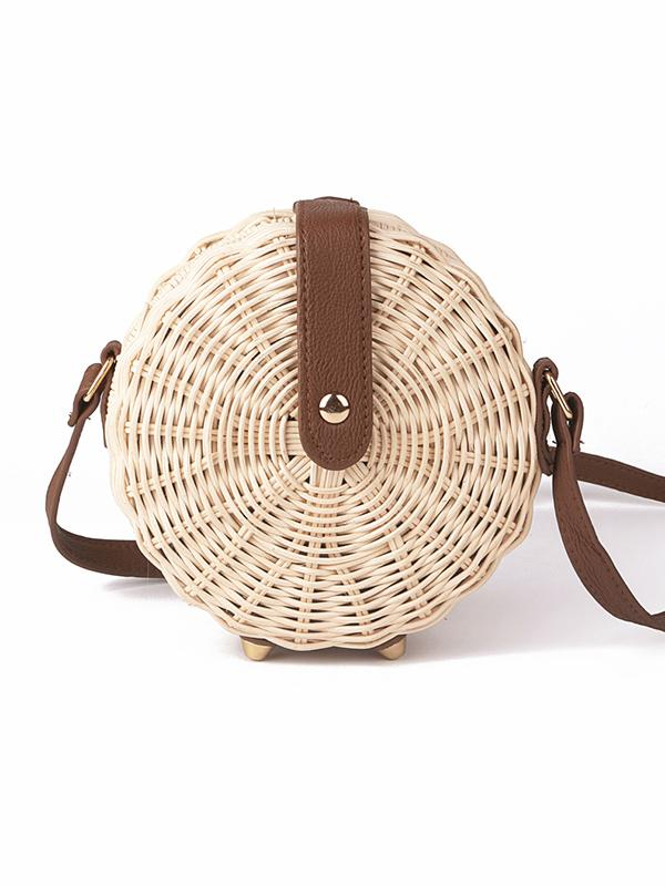 Handmade Round Straw Plaited Article Bag