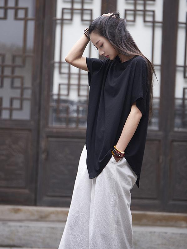 Asymmetric Batwing-sleeves Ramie Cotton Tops