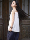 Spaghetti-neck Ramie Cotton T-shirt