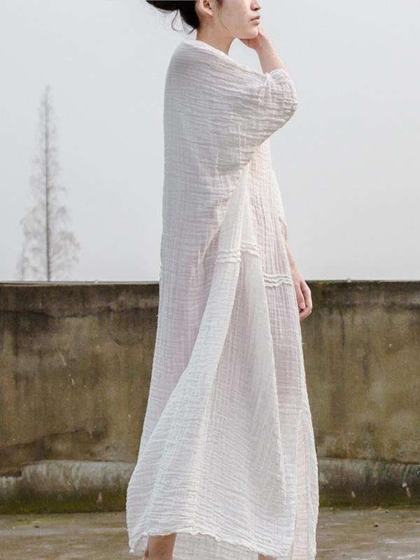 Soft 100%Cotton White Long Dress