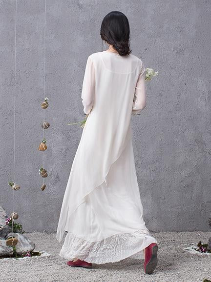 Two Pieces Silk White Cropped Long Dress