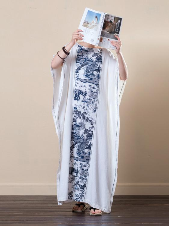 Casual Creamy Ramie Cotton Loose Long Dress