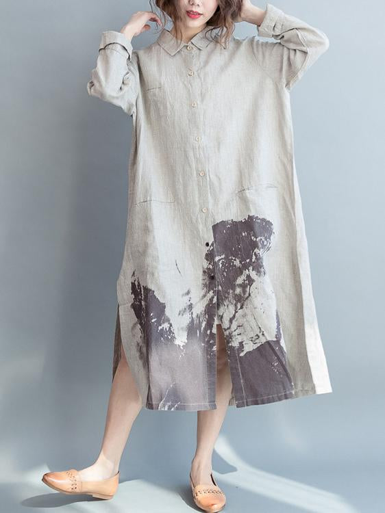 Creamy Linen Lapel Loose Blouse Long Dress