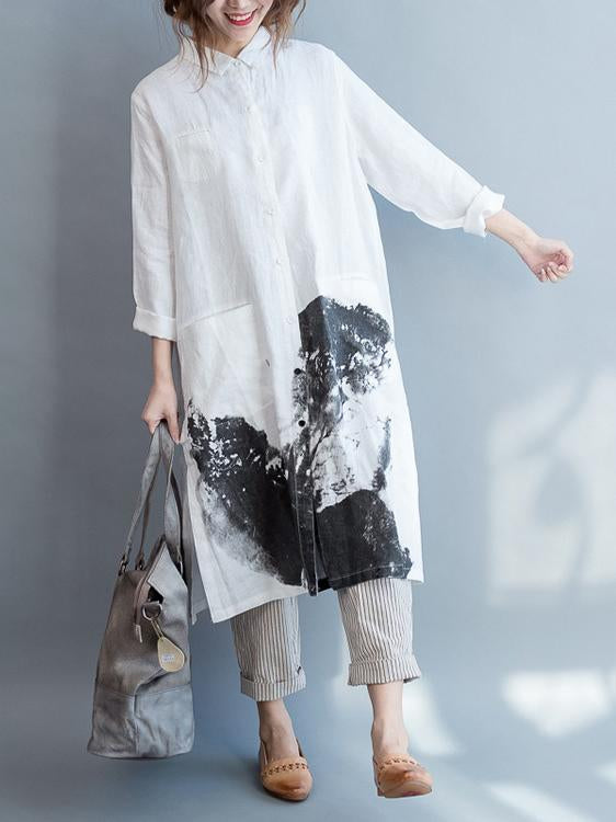 White Linen Lapel Loose Blouse Long Dress