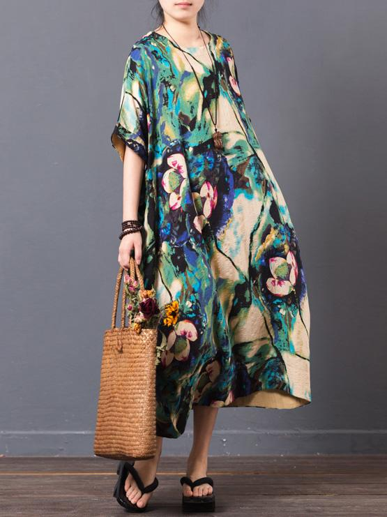 Red&Green Lotus Print Ramie Cotton Long Dress