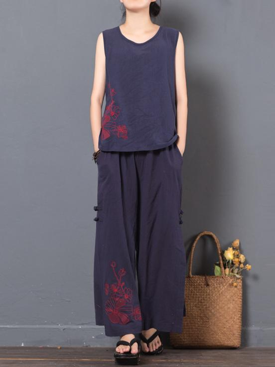 Vintage Embroidered Ramie Cotton T-shirt and Pants Suits