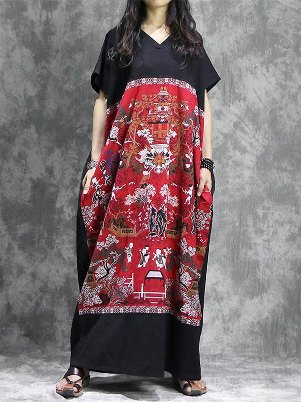 National Printed Black&Red Ramie Cotton Long Dress