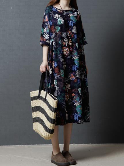 National Style Flower Printed A-Line Long Dress