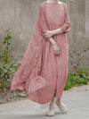 Soft  Mulberry Fuschia  Pure Color Long Dress