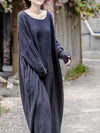 Round-neck Ramie Cotton Long Dress