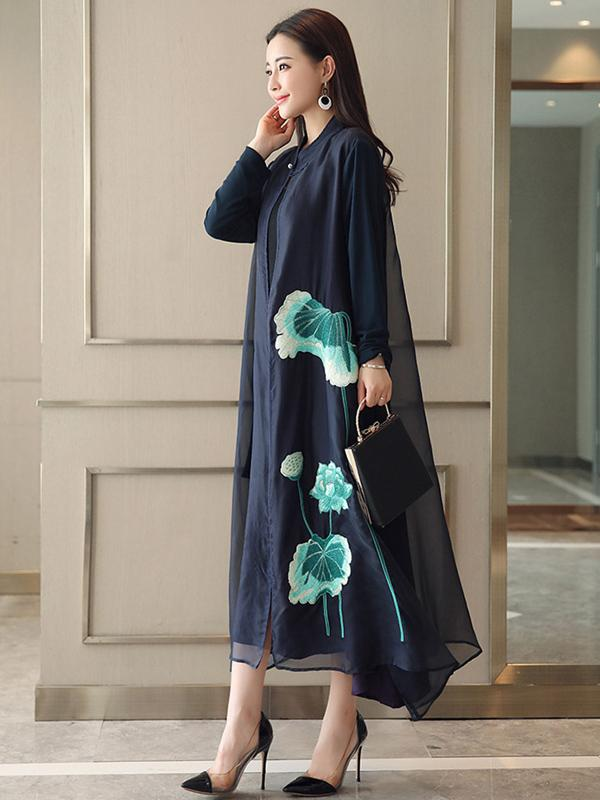 Blue Vintage Embroidered Long Dress