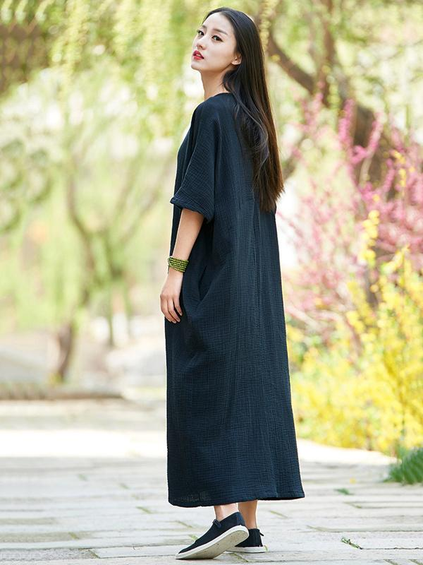 Black Soft Split-joint Ramie Cotton Long Dress