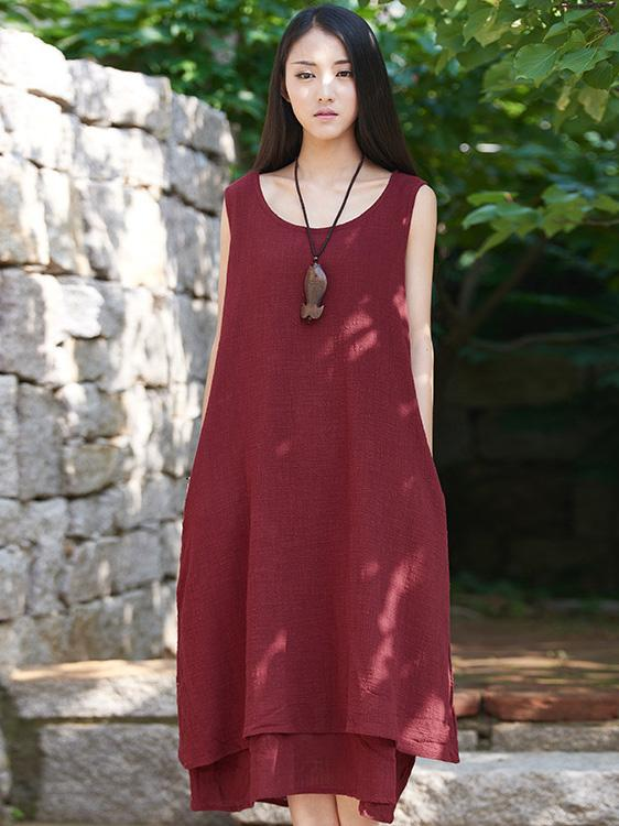 bb627b6ba95 Burgundy Black Ramie Cotton Sleeveless Long Dress – moongor