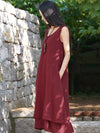 Burgundy&Black Ramie Cotton Sleeveless Long Dress