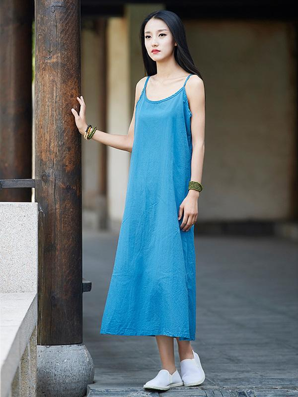 Simple Burgundy&Blue&Black Ramie Cotton Linen Dress