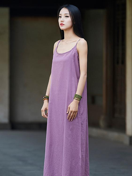 Simple White&Purple Ramie Cotton Linen Dress