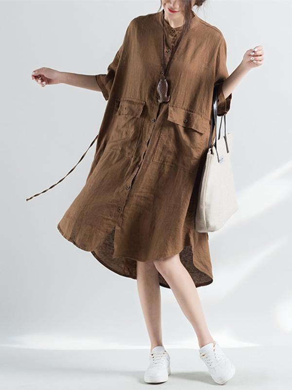 Comfortable Pure Color Cool Lace-up Blouse Dress