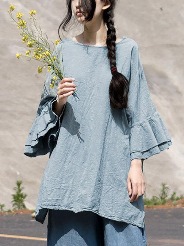 Linen Falbala Sleeves Ramie Cotton T-shirt