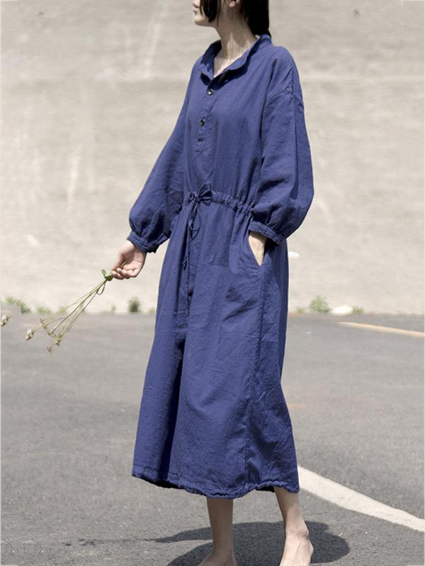Simple&Clean Purplish-blue Lace-up Loose Long Dress