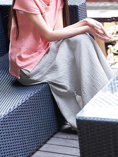 Split-side Cool Fastener Linen Skirt