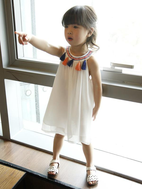 National White Halterneck Tasseled Kids Dress