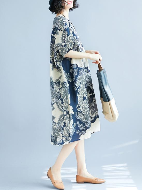 Natinal Flower Printed Linen Midi Dress