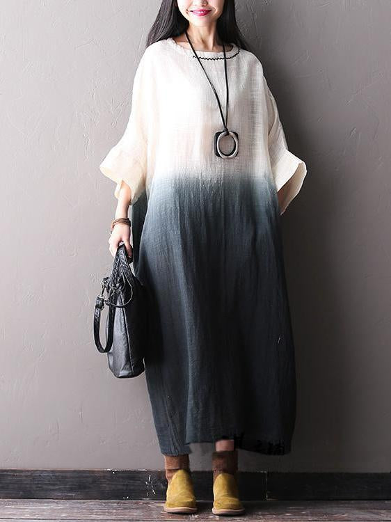 Batwing Slieeves Gradient Gray Cotton Long Dress
