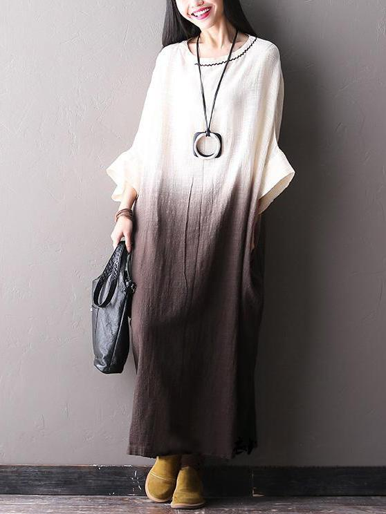 Batwing Slieeves Gradient Brown Cotton Long Dress