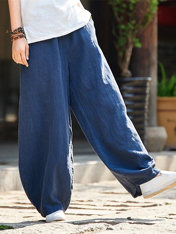 Burgundy&Navy Blue Ramie Cotton Casual Linen Bloomers Pants
