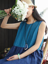Color Split-joint Long Blouse Dress