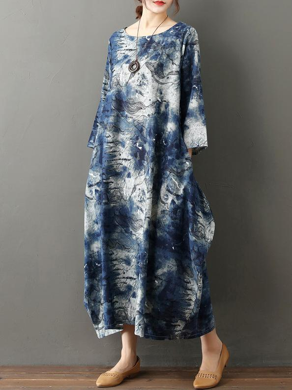 Comfortable Tie and dye Cotton Long Dress
