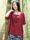 High-low Short Sleeves Ramie Cotton T-shirt