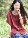 Round-neck Linen Cotton Half Sleeves Tops