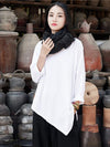 White&Gray Cropped Round-neck Ramie Cotton T-shirt