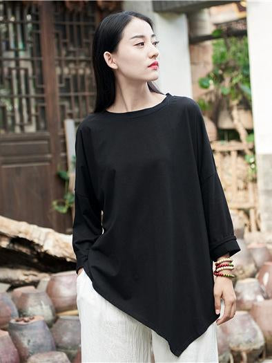Cropped Round-neck Ramie Cotton T-shirt