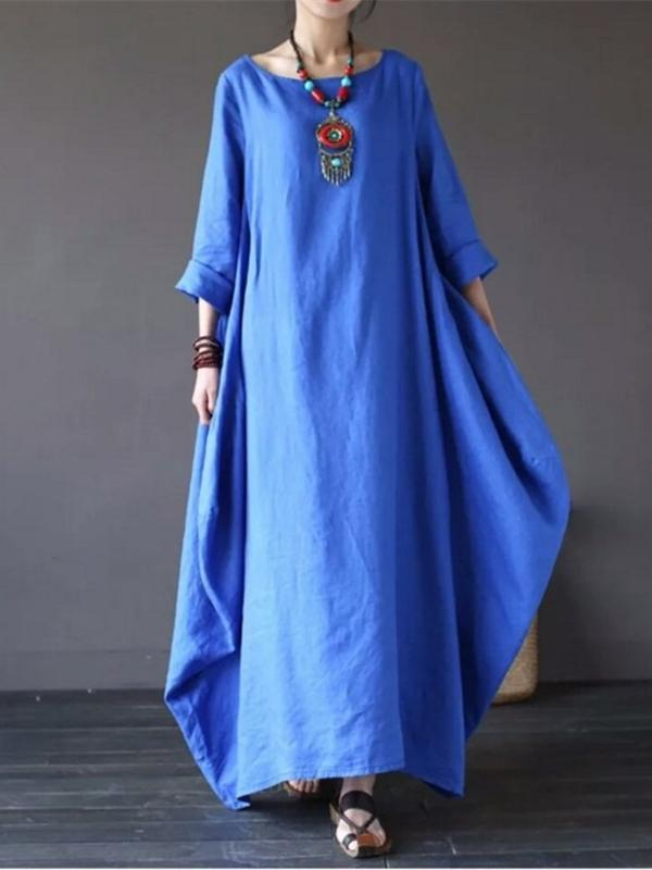 Super Loose Pure Color National Style Long Cotton Robe