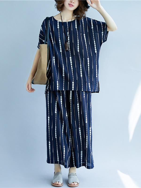 Deep Blue Striped Short Sleeves T-shirt+Pants Suit