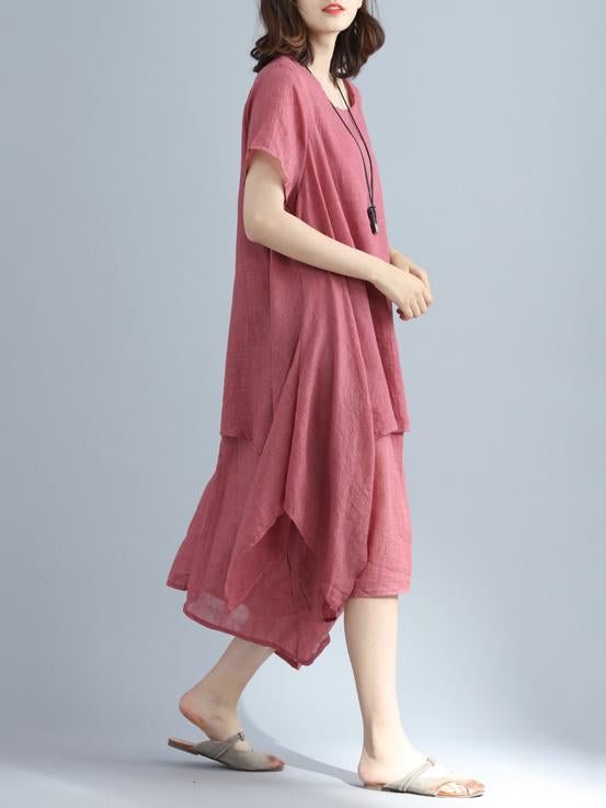 Comfortable False-Two Pure Color Long Dress
