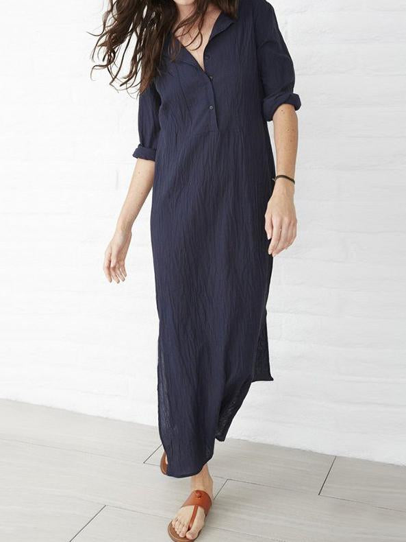 Comfortable Split-side Pure Color Long Dress