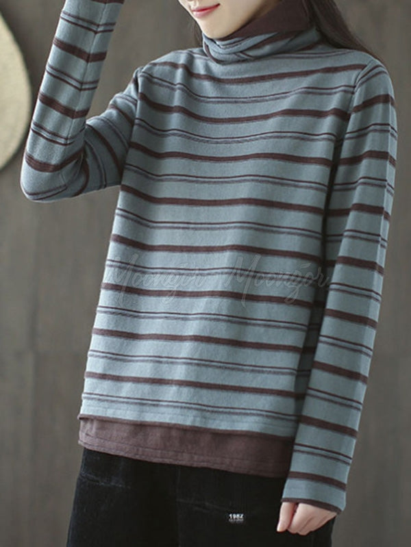 Striped High Neck False Two Knitting Sweater