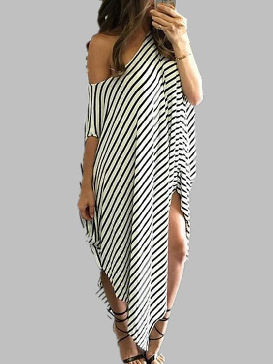 Loose Simple Striped Split-side Long Dress