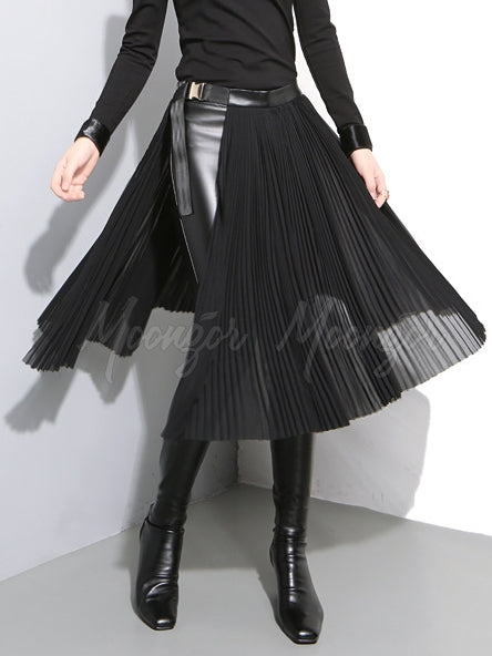 Adjustable Metal Button Split-Side Pleated Skirt