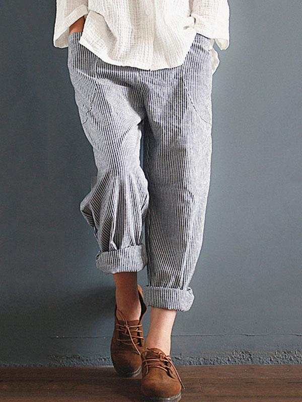 Casual High Waist Cotton Harem Pants