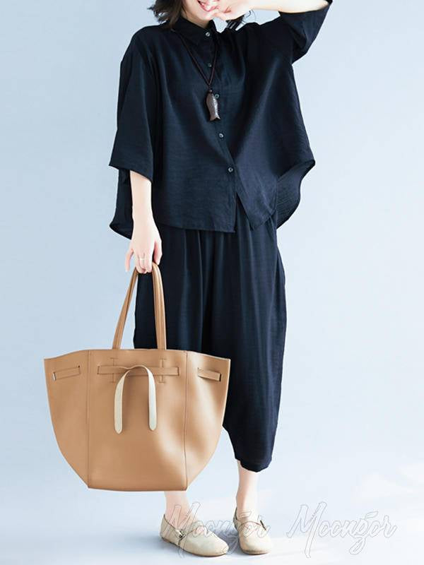 Two-Pieces Black Loose Shirt And Ninth Pants Suit